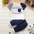 kids clothing sets 2016 new summer toddler boy suits 2pcs short sleeve cartoon patchwork t shirt+calf-length pants for boys