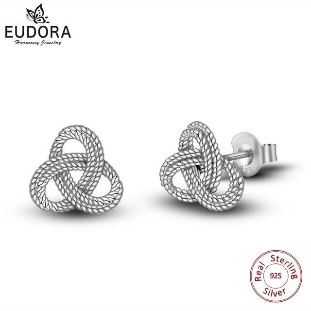 Eudora Genuine 925 Sterling Silver Vintage Trinity Knot Ear Studs Irish Love Earrings For Women