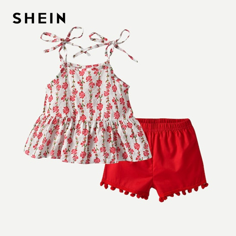SHEIN Kiddie Floral Print Cami Top With Fringe Shorts Girls Suit Sets 2019 Summer Sleeveless Ruffle Hem Cute Kids Clothes Sets ruffle strap and hem striped dress