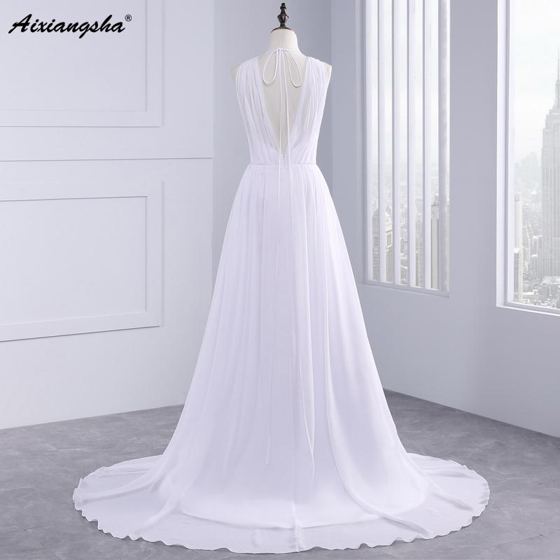Dress Bride Ivory Chiffon Open Back 2017 Greek Style Vestidos Wedding Dress Sleeveless Floor Length Sexy Wedding Dress 6