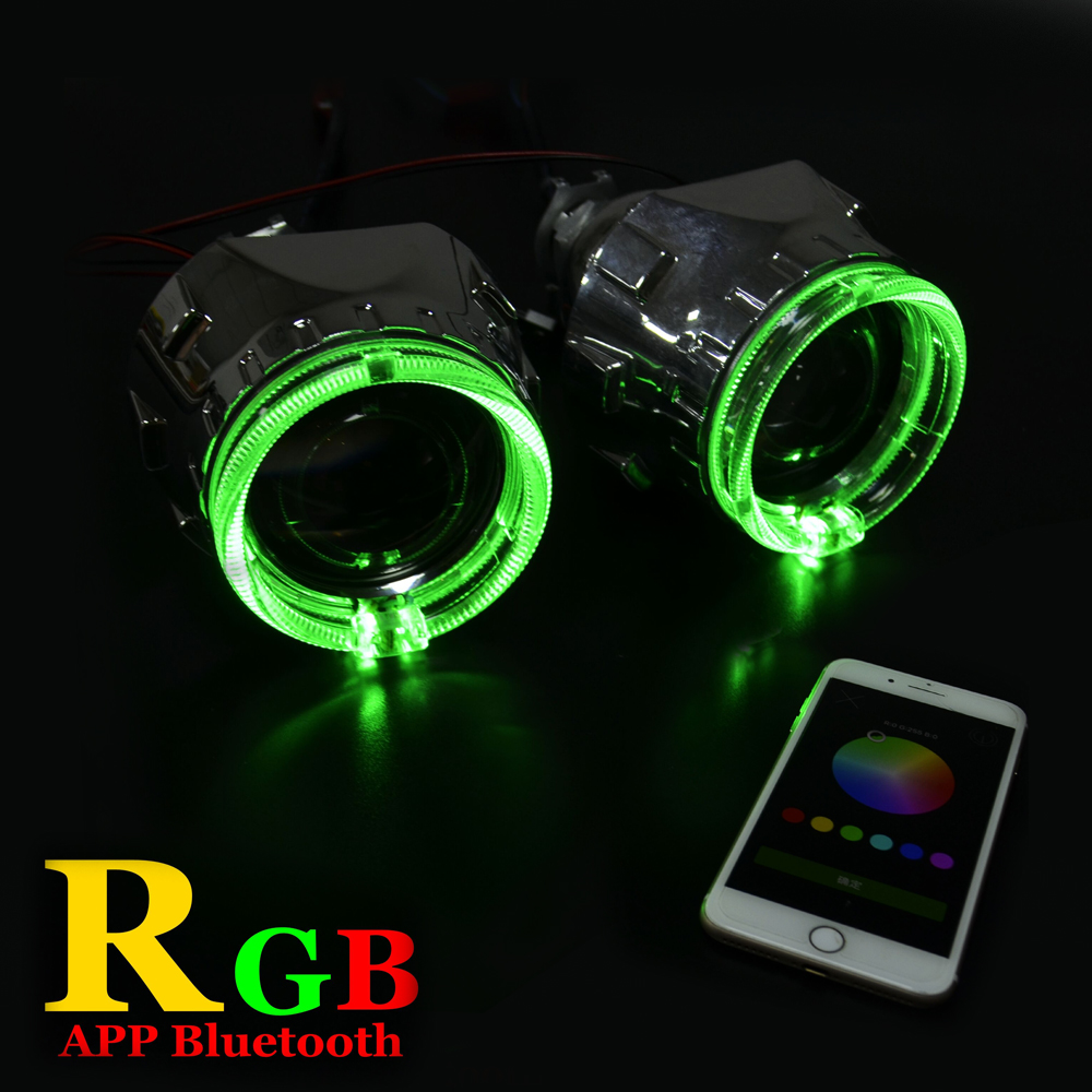 2.5 inch car Bi xenon hid Projector lens with RGB app Bluetooth function angel eyes mask bulb lamp car assembly kit For H1 H4 H7 safego 2 5 inch projector lens mask shroud with double angel eyes for car hid headlight headlamp projector lens for h1 h7 h4
