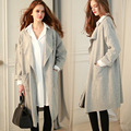 Brand design fashion loose women trench coat long-sleeved cardigan coat solid color female simple long coat CT158