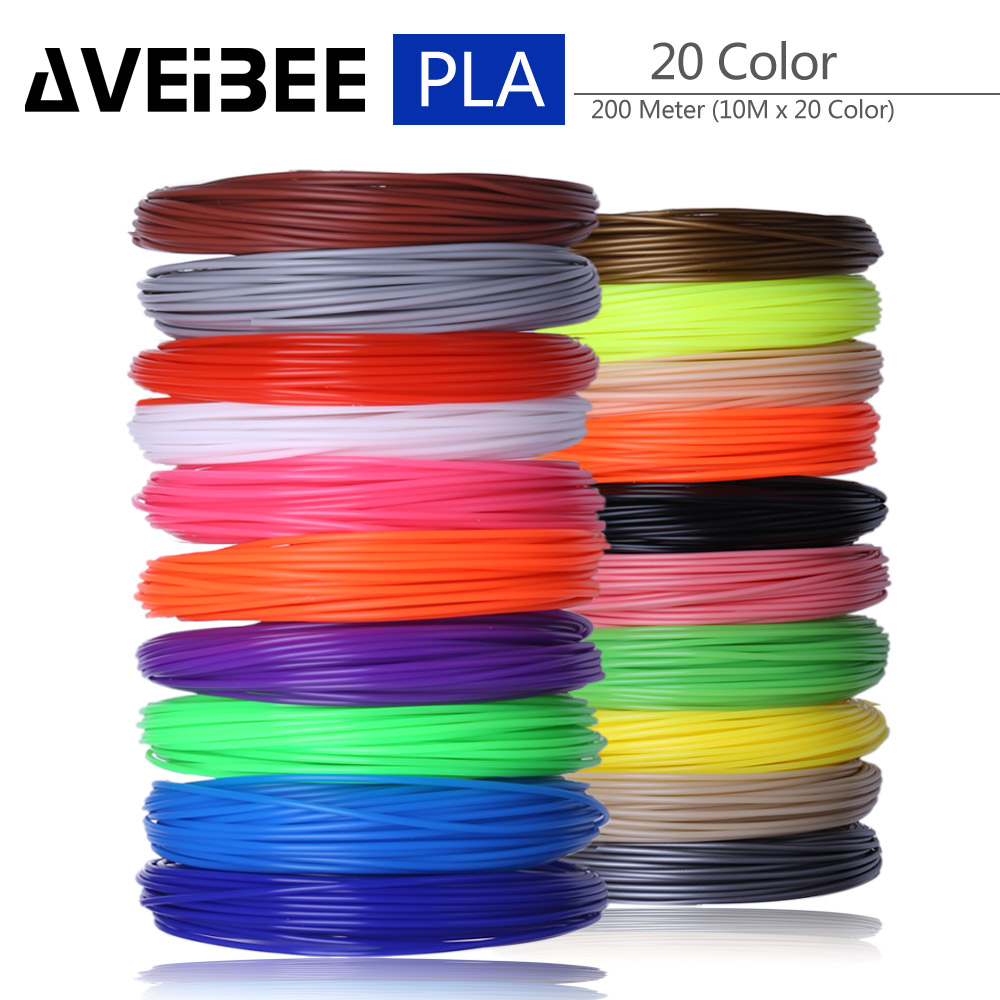 200 Meter 20 Color Set 3D Pen Filament PLA 1.75mm Plastic Rubber Printing Material For 3 D Printer Pen Refills Brithday Gift 200 meter 20 color set 3d pen filament pla 1 75mm plastic rubber printing material for 3 d printer pen refills brithday gift