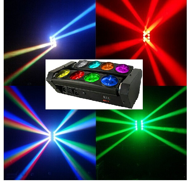 4xLot Free Shipping RGBW 8x10W Quad 4in1 CREE LED Moving Head Beam Spider Bar Effect Disco DMX Sound Strobe Projector Lights