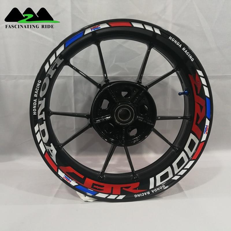 For Honda CBR1000RR 600R 300R CBR650F Motorcycles Wheel Stickers Waterproof Reflective Rim Decals Front & Rear Custom Inner Rim
