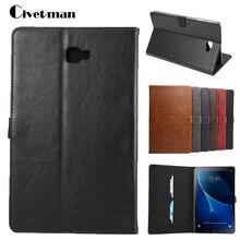 Civetman Cubierta Del Tirón Para Samsung Galaxy Tab 10.1 2016 T585 T580 SM-T580 T580N casos Tablet Crazy Horse Smart Cover shell piel