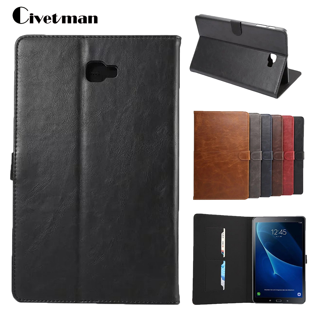 Cover For Samsung Galaxy Tab A 10.1 2016 T585 T580 SM-T580 T580N Tablet Cases Crazy Horse Smart Flip Shell Skin Sleep Wake/up
