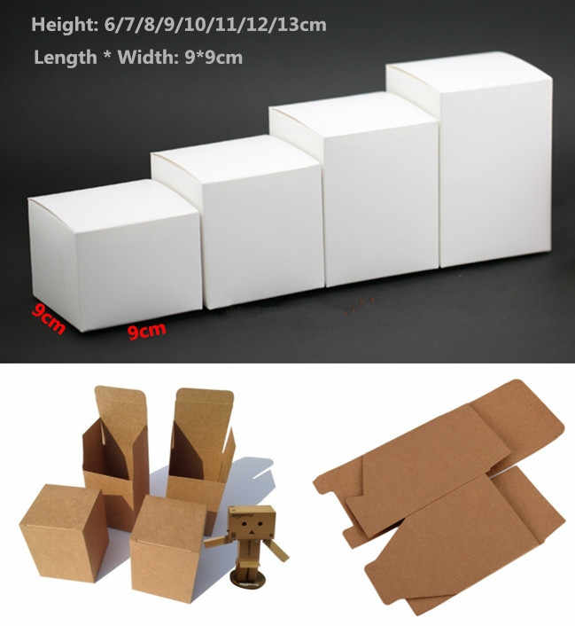 50pcs 13 sizes Kraft Paper cardboard Box for Jewelry gift Candy packaging carton Box gift soap Package Packing paper Box white