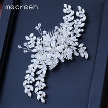 Mecresh Luxury Flower Crystal Handmade Bridal Headpiece Princess Tiara Leaf Rhinestone Hair Comb Wedding Accessories FS223