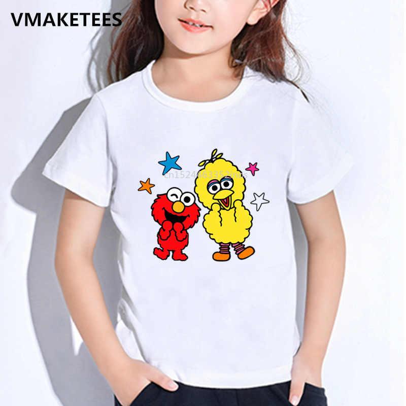 בנות & בנים קצר שרוול חולצה ילדי את שומשום רחוב קריקטורה הדפסת חולצה קוקי מפלצת ואלמו מצחיק תינוק בגדים, HKP5255
