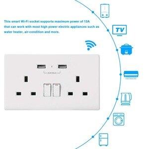 Image 2 - Приложение Smart life Wi Fi умная розетка Великобритания управление переключателем таймера 13A розетки и 2 Порты USB Голосовое управление работает с Amazon Alexa Google IFTTT