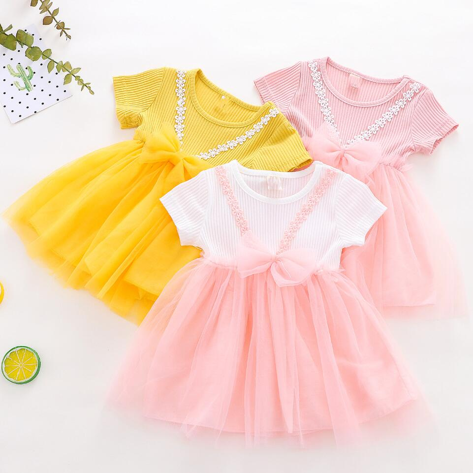 2019 Baby Girls Dress Big Bowknot Infant Party Dress For Toddler Girl First Brithday Baptism Clothes Double Formal Tutu Dresses