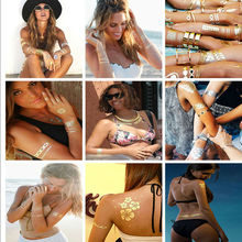 10 PCS/Lot Fashion Men And Women Fake Tattoo Metal Gold Body Art Instant Flash Waterproof Temporary Shining Tattoos Stickers