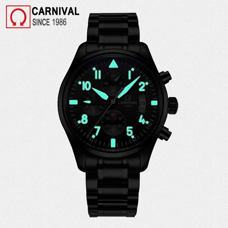 Carnival Sport Pilot Automatic Watch Men Mechanical Watches Mens Luminous Waterproof Military Clock Multifunction montre homme