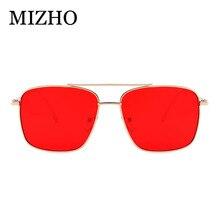MIZHO 2019 New Metal Square Frame Yellow Sunglasses Women Trendy UV Protection Festival Fake Glasses Men Vintage Red Lens Oculos