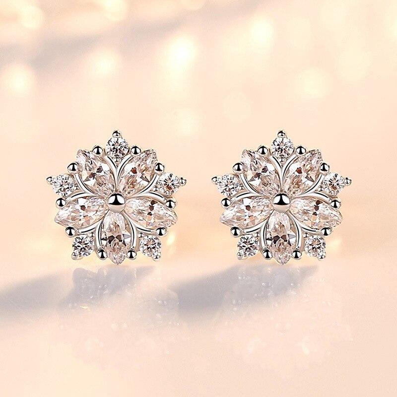 Valentine/'s Day Party 925 Sterling Silver Zircon Ice Flower Stud Drop Earrings