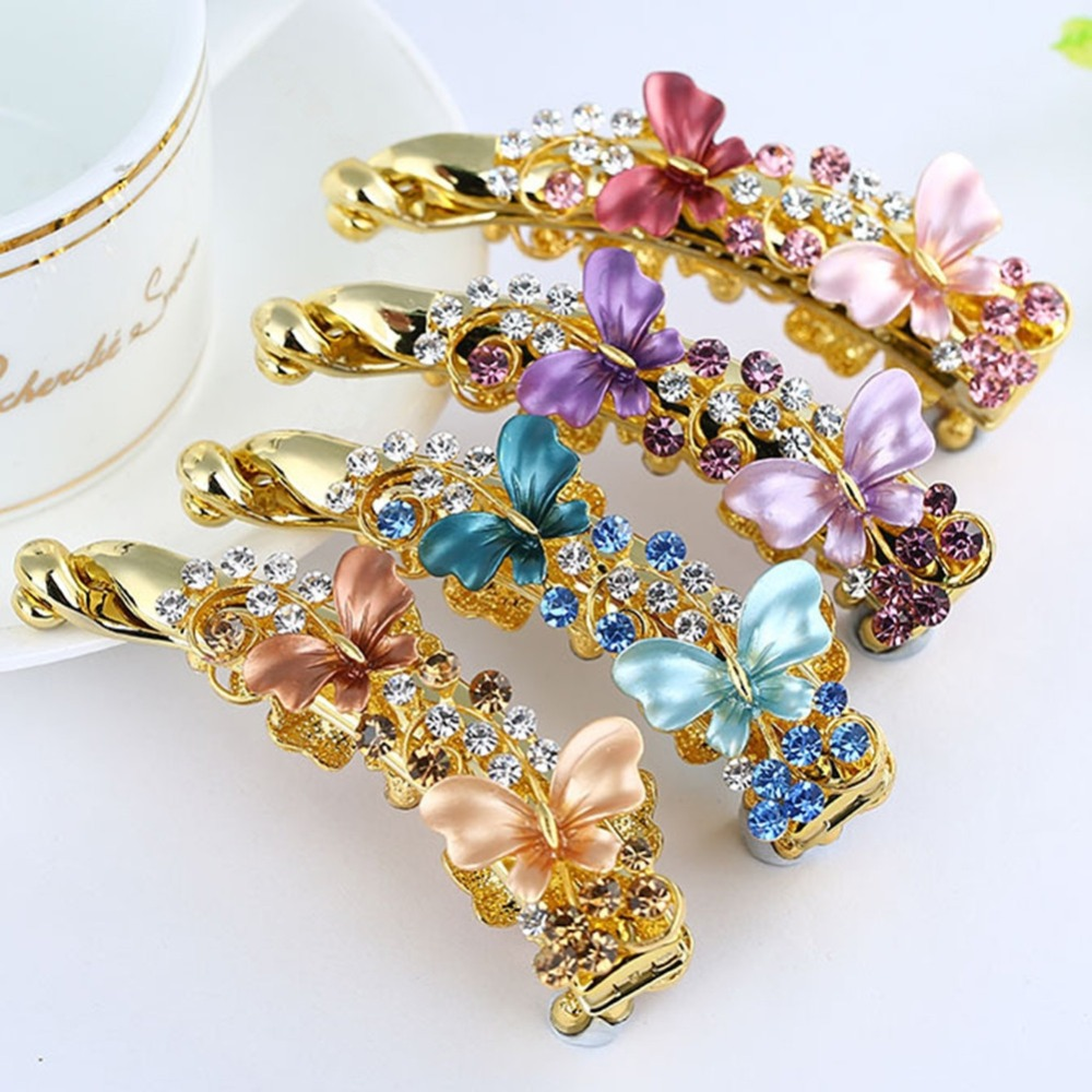 Barrettes Banana Hairpin-Holder Claws Crystal Alloy Butterfly Rhiestone Vintage Women