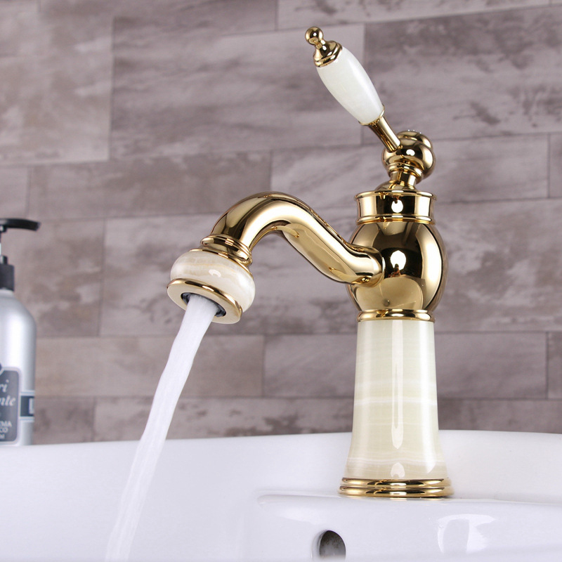 Free Shipping Promotion jade stone gold basin sink faucet with hot cold brass bathroom tap and newly golden kitchen sink faucet pastoralism and agriculture pennar basin india
