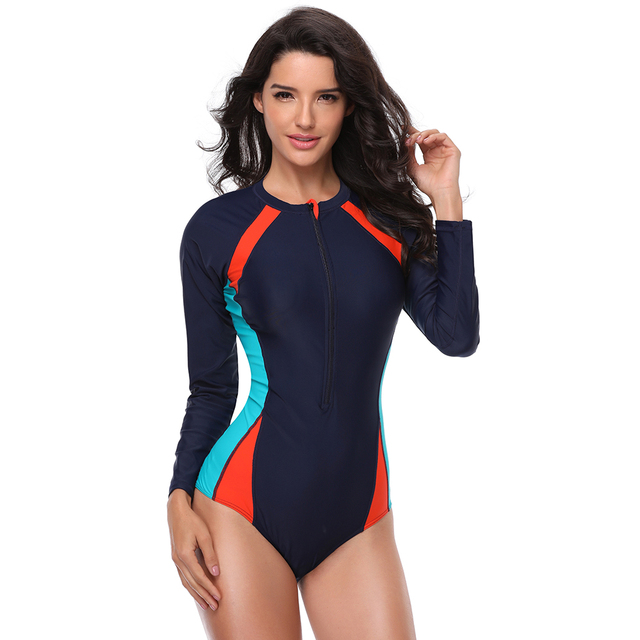 New UV Protection Women Long Sleeves One Piece Swimsuit