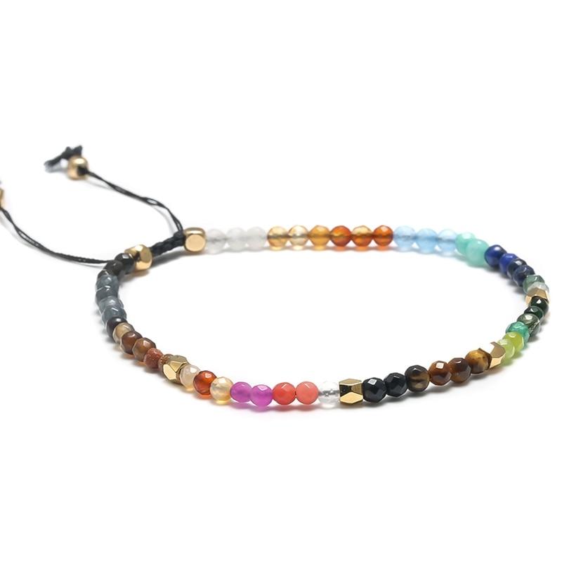 3e1e27adcca643 12 Constellation Lucky Stone Simple Bracelet 3mm Crystal Beads Adjustable  Bracelet 7 Chakras Healing Balance Yoga