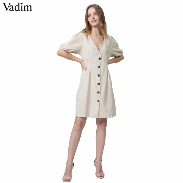 0aa73023d7c5 Vadim dell annata delle donne con scollo a V pieghe abito di lino manica  corta button retro casual femminile di estate chic mini vestiti abiti QA061