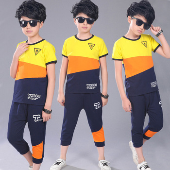 Active Teen Boys Clothing Sets Summer Cotton Child Tracksuit 2 Pcs Casual Letter Patchwork Tshirt Pants Kids Clothes Sports Suit 1