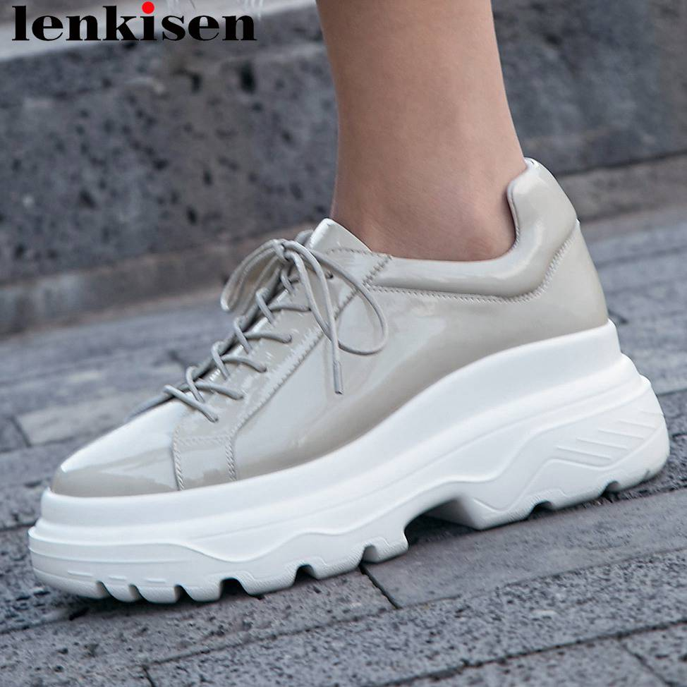Lenkisen full grain leather round toe lace up thick bottom concise style sneakers platform dating party