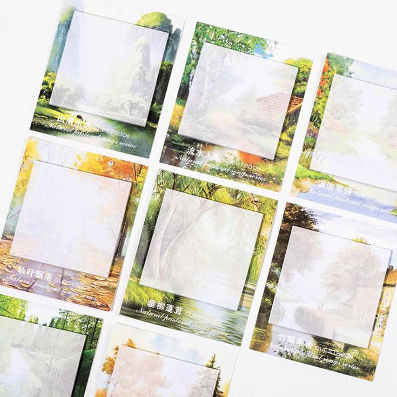 Kawaii Taccuini memo Naturale Pastorale Della La Sua Può Essere Strappato N Volte Post Piccolo Studente Fresco Messaggio Nota Pubblicata Paesaggio Nota libro