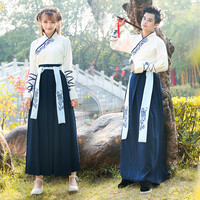 Traditional Chinese Dress Hanfu For Women And Men Ancient Tang Dynastic Costumes Folk Clothes Tops+Dress Stage Costumes BL1178
