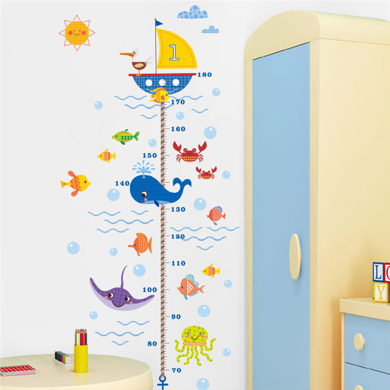 Cartoon shark fish boat height measure wall sticker for for Growth chart for kids room