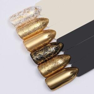 Image 5 - NASCIDO BONITA Prego De Prata Ouro Tira Espelho Flakies 3D Decoração de Unhas de Metal Fio de Linha Gel UV Da Arte Do Prego Acessórios de Decoração