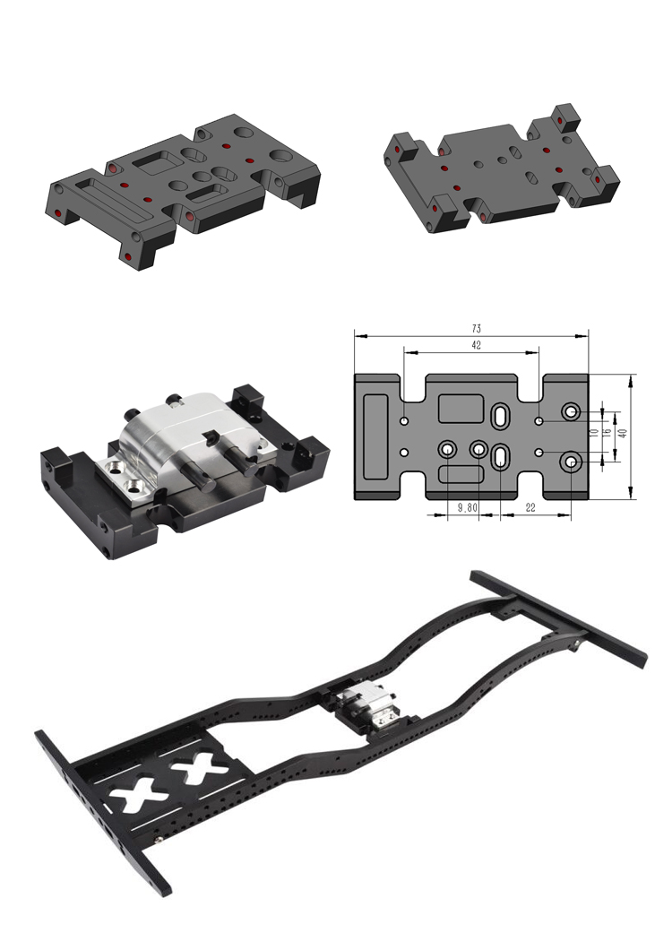 Image 5 - RCAIDONG Metal Gearbox Transfer Case Mount Holder for Axial SCX10 D90 D110 1/10 RC Crawler-in Parts & Accessories from Toys & Hobbies