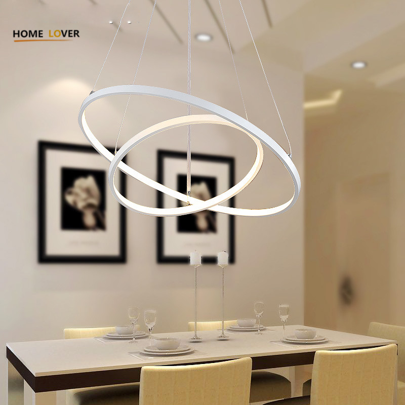 Produs Modern Pendant Lights For Living Room Dining Kitchen Circle Rings Acrylic Body Hanging Ceiling Lamp Fixtures