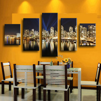 Seaside City Beautiful Night Home Decor Canvas Print Painting Artwork Wall Art Picture Decorative Painting Unframed