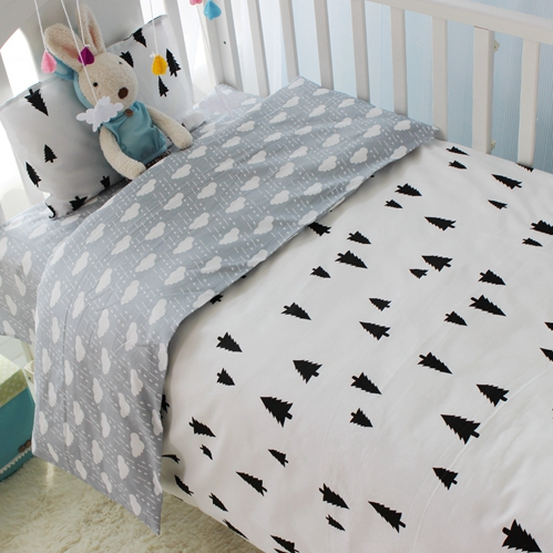 3cps/set 100% cotton Ins Hot baby Bedding set include pillowcase plat sheet quilt cover black white tree pink clouds star стоимость