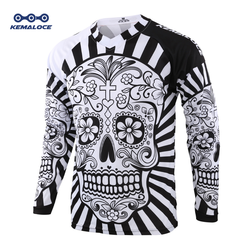 2019 Long Sleeve Men Mtb Jersey Quick Dry Sport Enduro Motocross Jersey White Skull BMX Bicycle Top Mountain Bike Shirts Uniform