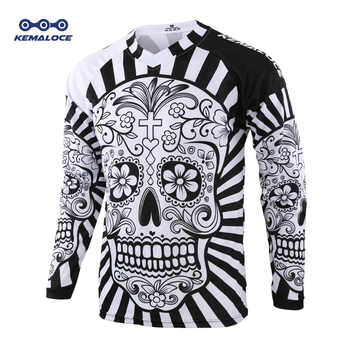 2019 Long Sleeve Men Mtb Jersey Quick Dry Sport Enduro Motocross jersey White Skull BMX Bicycle Top Mountain Bike Shirts Uniform - DISCOUNT ITEM  30% OFF All Category