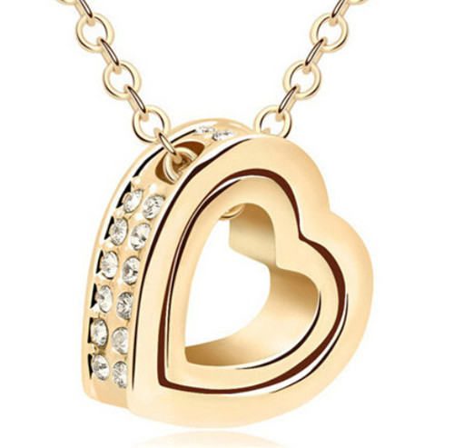 H:HYDE 2017 Hot Sale Gold color Double Heart Crystal Pendant Necklace Nice Shipping