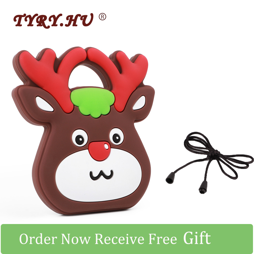 TYRY.HU 1pcs Christmas Deer Teether Cartoon Food Grade Baby Silicone Teething Toys For Mother DIY Baby Pacifier Chain Free Gifts