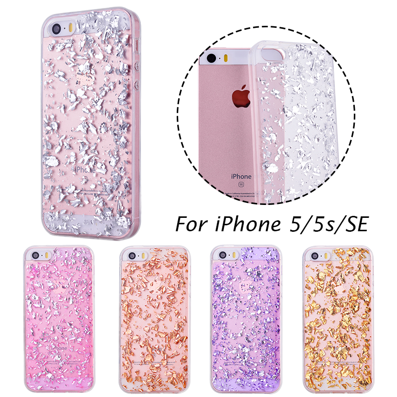 wholesale dealer 63b39 a36e6 US $2.39 20% OFF|GrandEver Fashion Bling Foil Clear Silicone Case For  iPhone 5s Sequin Glitter Cover for iPhone 5 SE Shiny Case Soft Coque  Fundas-in ...