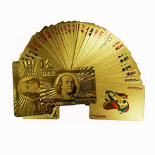 HOT 2016 NEW 1PCS Deck Gold Foil Poker US Dollar Style Plastic Poker Playing Cards Waterproof Cards Good Price Q5288