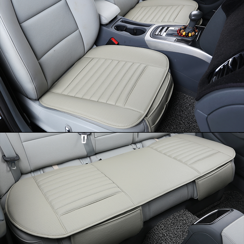 Wear-resistant Car Seat Cushion Cover PU Leather Breathable Bamboo Charcoal Driver Car Seat Pad Mat black grey Auto accessories