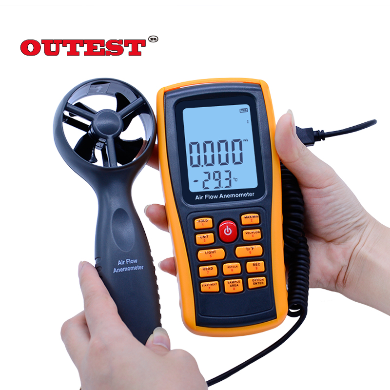 GM8902 0-45M/S Digital Anemometer Wind Speed Meter Air Volume Ambient Temperature Tester With USB Interface цена