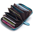 2016 Hot selling Retro Genuine Leather   Business Card Credit Holder  with zipper purse  for women