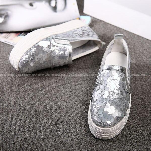 ФОТО Soft Loafers Woman Bling Footwear Glitter Creepers 2017 Womens Luxury Female brand Casual Loafers Sapato Feminino