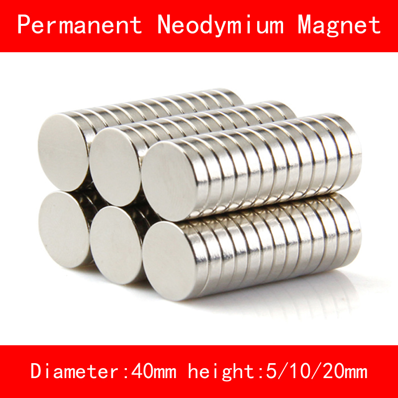 round diameter 40mm thickness 5mm 10mm 20mm n35 Rare Earth strong NdFeB Neodymium Magnet for industrial DIY
