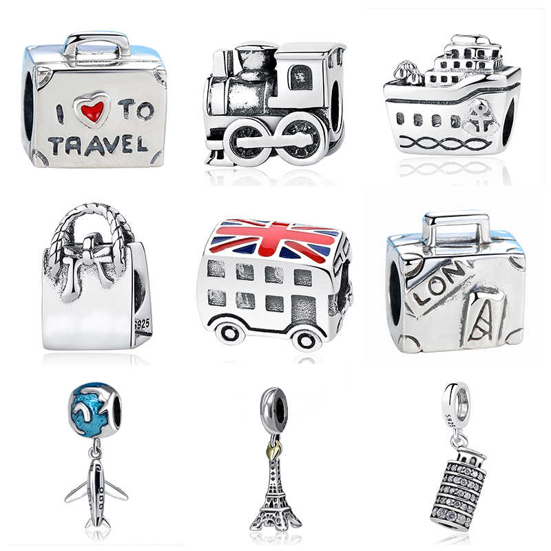 Jclowsexy Authentic 925 Sterling Silver Bead Vintage Roman Colosseum Heart Travel Pendant DIY Charms Fit Pandora Bracelet Bangle