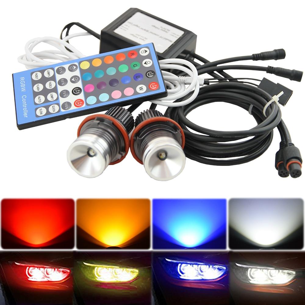 LED Maker Angel Eyes RGB Remote Control Angel Rings 2x for BMW E39 E53 E60 X3 X5 free shipping 1 set 2x 120mm 2x 128 mm f30 f35 crystal led angel eyes for bmw