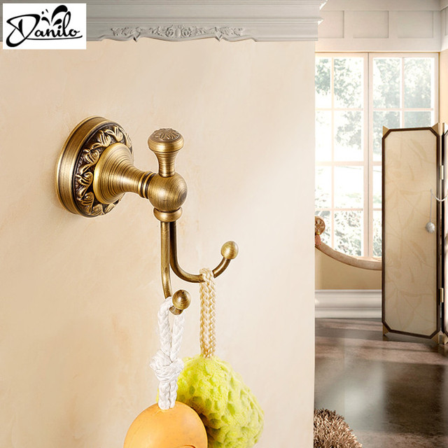 Wall Hook Antique Copper Finish Bathroom Wall Hook Double Hook Hat Coat  Towel Robe Door Wall