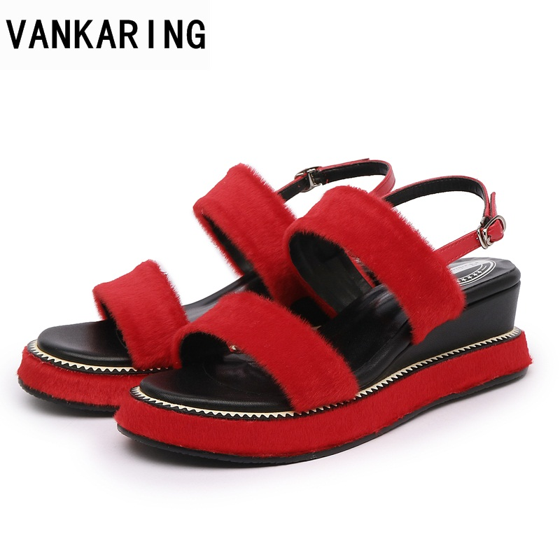 VANKARING women summer gladiator sandals real fur leather wedges high heels platform shoes woman dress party casual shoes sandal women sandals 2017 summer shoes woman wedges fashion gladiator platform female slides ladies casual shoes flat comfortable